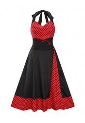 Polka Dots Patchwork Halter Plus Size Black Vintage Dress