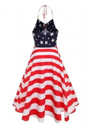 Halter Star Striped 4th of July Vintage Dress