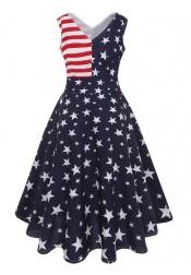 V-Neck American Flag Patriotic Vintage Dress