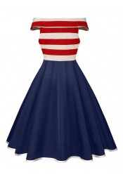 Striped Pockets 4th of July Patriotic Vintage Dress