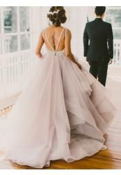 A-line Crew Court Train Organza Lace Grey Open Back Wedding Dress