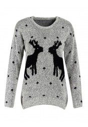 Reindeer Printed Long Sleeves Grey Ugly Christmas Sweaters