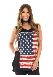 American Flag Print July of 4th Tank Top