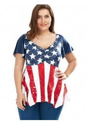 Star Striped Patriotic Plus Size T-Shirt