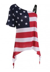 Oblique Neck Asymmetry American Flag Tee