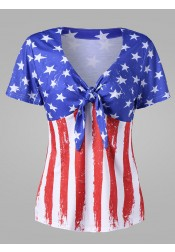 Bow Front 4th of July Patriotic T-Shirt