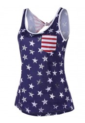 Open Back Star Striped Patriotic T-Shirt