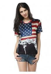 American Flag Print Patriotic Round Neck Tee