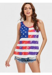 Star Striped Musical Note Print Patriotic T-Shirt