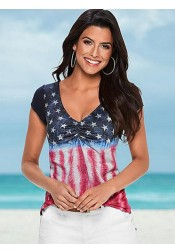 V-Neck Star Striped Print Patriotic T-Shirt