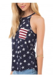 Patchwork Star Striped Print Patriotic Tank Top