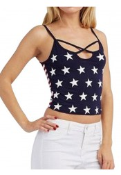 Star Print 4th of July Patriotic Cropped Tank Top