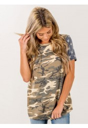 Camouflage Round Neck Star Striped Patriotic T-Shirt