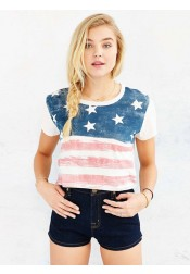American Flag Print Star Striped July of 4th White T-Shirt