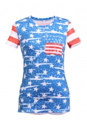Pockets Round Neck Star Striped Print Patriotic T-Shirt