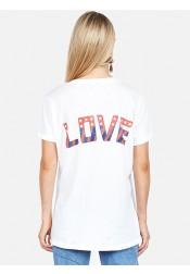 Letter Eagle Print V-Neck White Patriotic T-Shirt