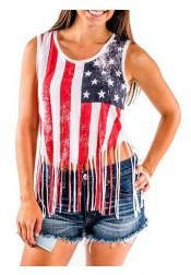 Tassels American Flag Print Scoop Neck Patriotic Tank Top