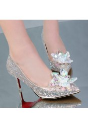 Women's Crystal Champagne/Silver Prom Dance Shoes