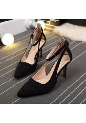 Women's Mid-Heel Buckle Black/Flesh Prom Shoes