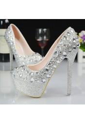 Women's High/Ultal-High Heel Silver/Grey Prom Shoes