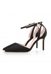 Women's High Heel Buckle Black/Pink Suede Prom Shoes