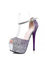 Women's Ultra-High Heel Buckle Grape Sequins Prom Shoes