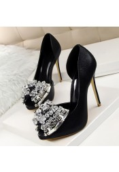 Women's Ultra-High Heel Peep Toe with Beading Crystal Prom Shoes Silver Heels