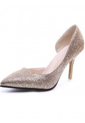 Gold Pointy Toe Stiletto Pumps Heels with Sequins