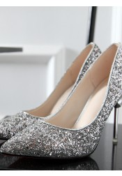 Gold Pointy Toe Stiletto High Heels with Sequins