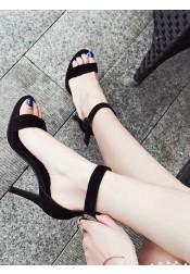 Black Stiletto Two Part Ankle Strap Sandals