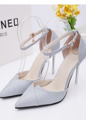 Silver Pointy Toe Ankle Strap Stiletto Heels with Sequins