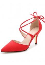 Pink Pointy Toe Strappy Pump Kitten Heels