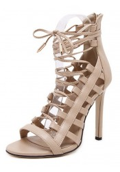 Apricot Open Toe Stiletto Strappy Cage Sandals