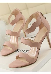 Pink Open Toe Stiletto Ankle Stap Zipper Sandals