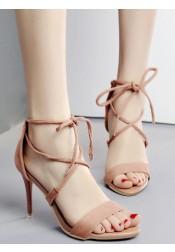 Pink Open Toe Stiletto Strappy High Heels