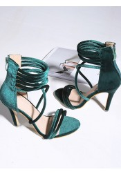 Army Green Open Toe Stiletto Velvet Ankle Strap Heels