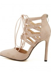 Nude Pointy Toe Stiletto Strappy Hollow-Out Heels