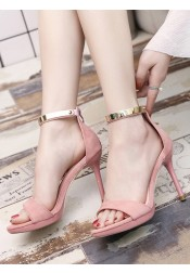 Pink Two Part Stiletto Ankle Strap Heels
