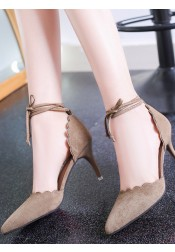 Grey Pointy Toe Sedue Lace-Up Stiletto Heels