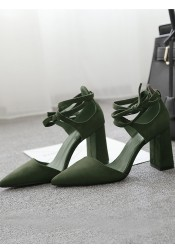 Green Pointy Toe Sedue Lace-Up Chunky Heels