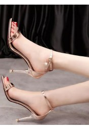 Pink Open Toe Two Part Stiletto Ankle Strap Sandals