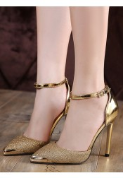 Silver Ankle Strap Stiletto Pumps Heels with Sequins