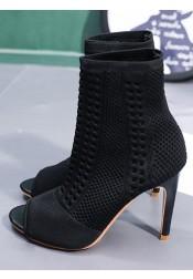 Peep-Toe Stiletto Heel Black Ankle Boots