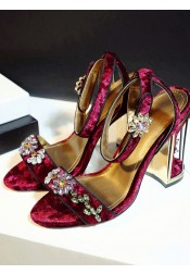 Beaded Ankle Strap Red Velvet High Heels Sandals