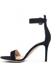 Ankle Strap Black Velvet High Heels Sandals