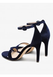 Ankle Strap Dark Blue Velvet High Heels Sandals