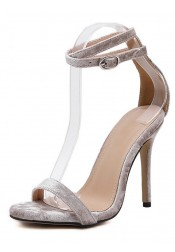 Ankle Strap Velvet Stiletto Heels Sandals