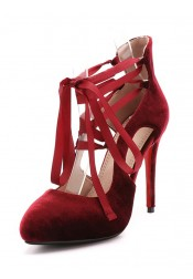 Lace Up Wine Velvet High Heels For Women