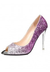 Peep-Toe Purple Sparkly High Heels