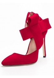 Ankle Strap Red Velvet Stiletto Heels With Bowknot